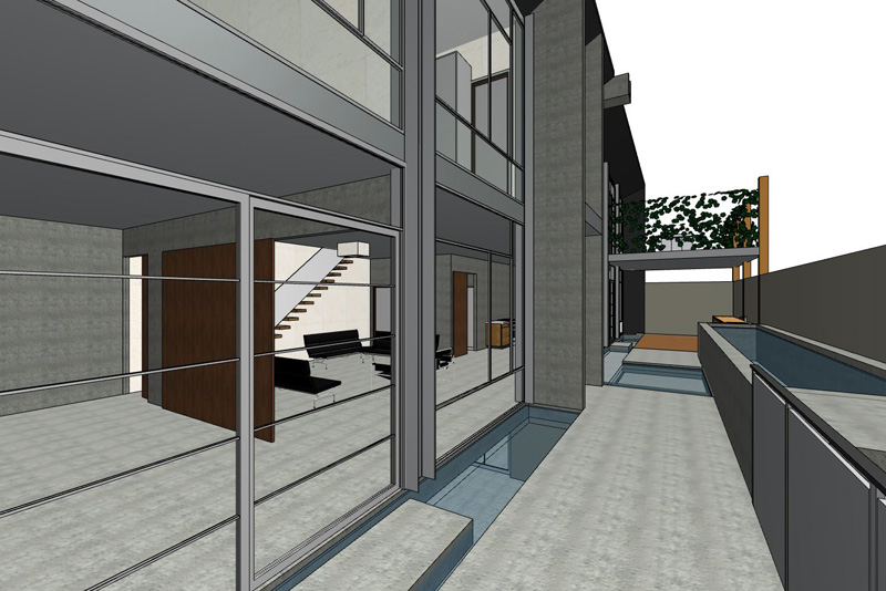 Modernist apartment 3D view