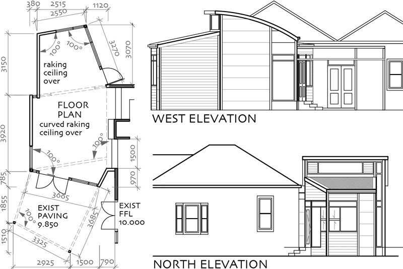 plans & elevations of artist's living room addition