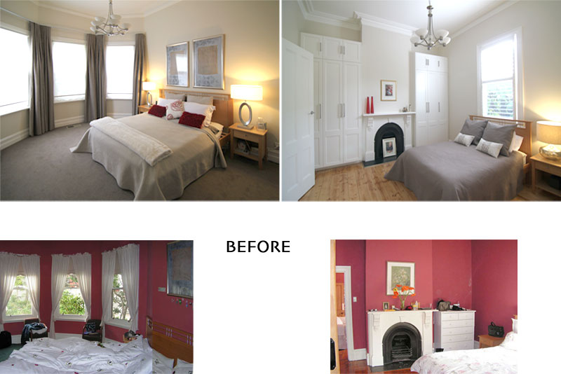 bedroom before & after views of an addition in hawthorn