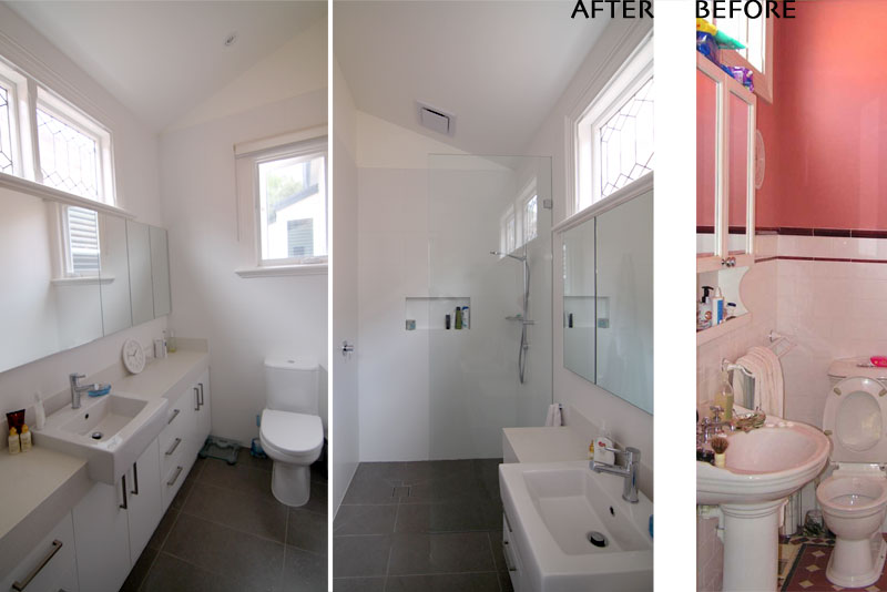 ensuite bathroom before & after views of an addition in hawthorn