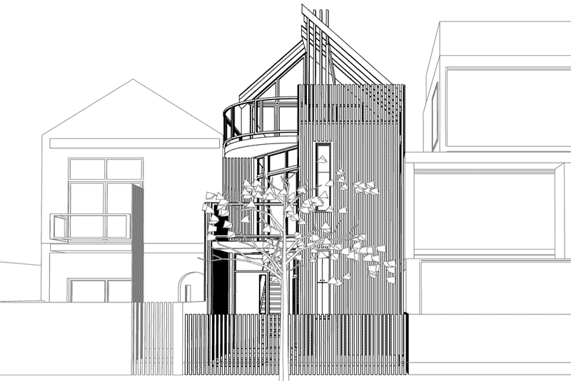 3 storey residential addition front perspective