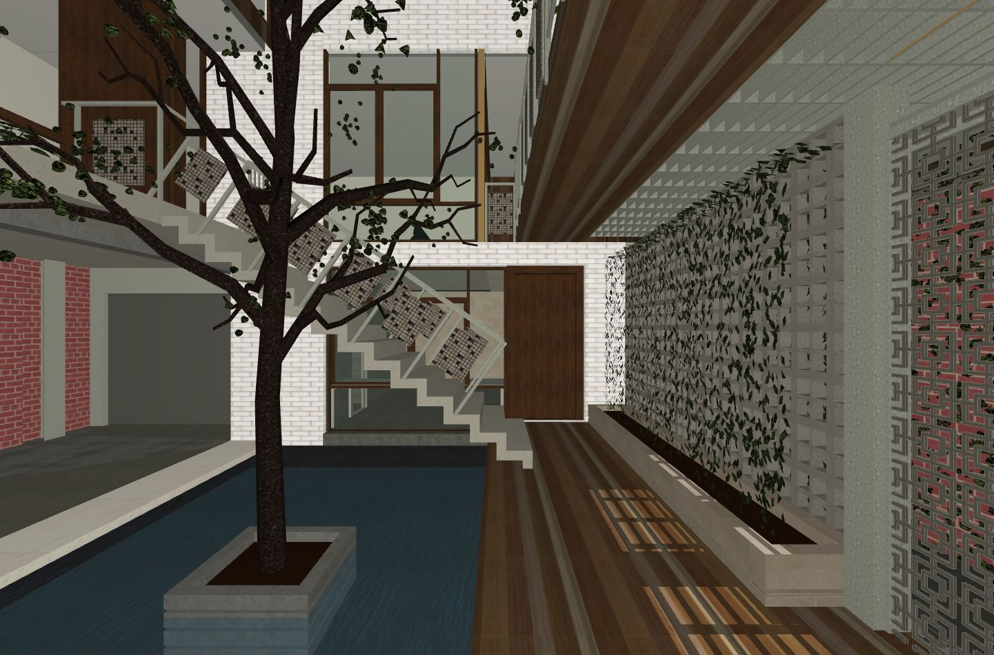 Stair over pond 3D view